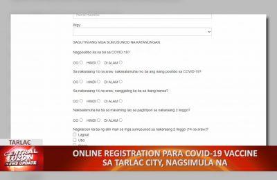 Online registration para sa COVID-19 vaccine sa Tarlac City, nagsimula na