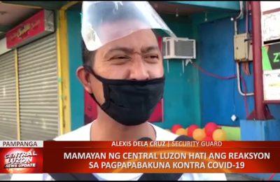 Mamamayan ng Central Luzon hati ang reaksyon sa pagpapabakuna kontra COVID-19