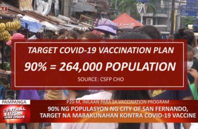 90% ng populasyon ng City of San Fernando, Pampanga, target na mabakunahan kontra COVID-19 vaccine