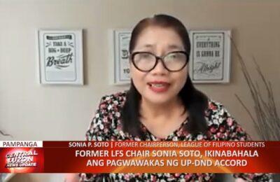 Former LFS Chair Sonia Soto, ikinabahala ang pagwawakas ng UP-DND Accord