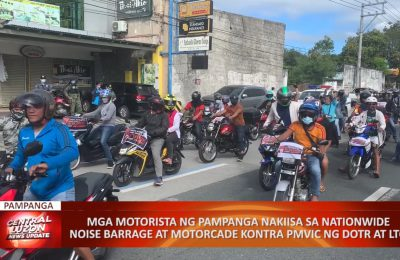 Mga motorista ng Pampanga nakiisa sa nationwide noise barrage at motorcade kontra PMVIC ng DOTR at LTO