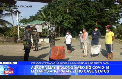 Aurora may bagong kaso ng COVID-19 matapos ang 13-day zero case status