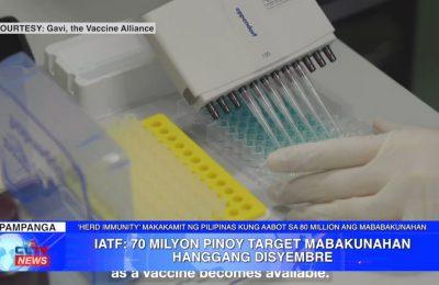 IATF: 70 milyon Pinoy target mabakunahan hanggang Disyembre