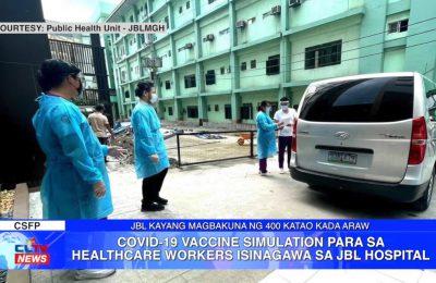 COVID-19 vaccine simulation para sa healthcare workers isinagawa sa JBL Hospital