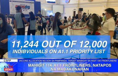 Mahigit 11K A1.1 frontliners, natapos mabakunahan | Pampanga News