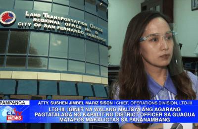 LTO-III, iginiit na walang malisya ang agarang pagtatalaga ng kapalit ng district officer sa Guagua matapos makaligtas sa pananambang | Pampanga News