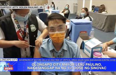 Olongapo City Mayor Lenj Paulino, nakatanggap na ng 1st dose ng Sinovac | Zambales News