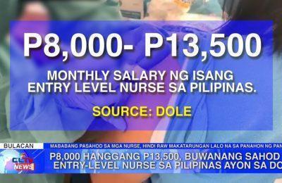 ₱8,000 hanggang ₱13,500, buwanang sahod ng entry-level nurse sa Pilipinas ayon sa DOLE | Bulacan News