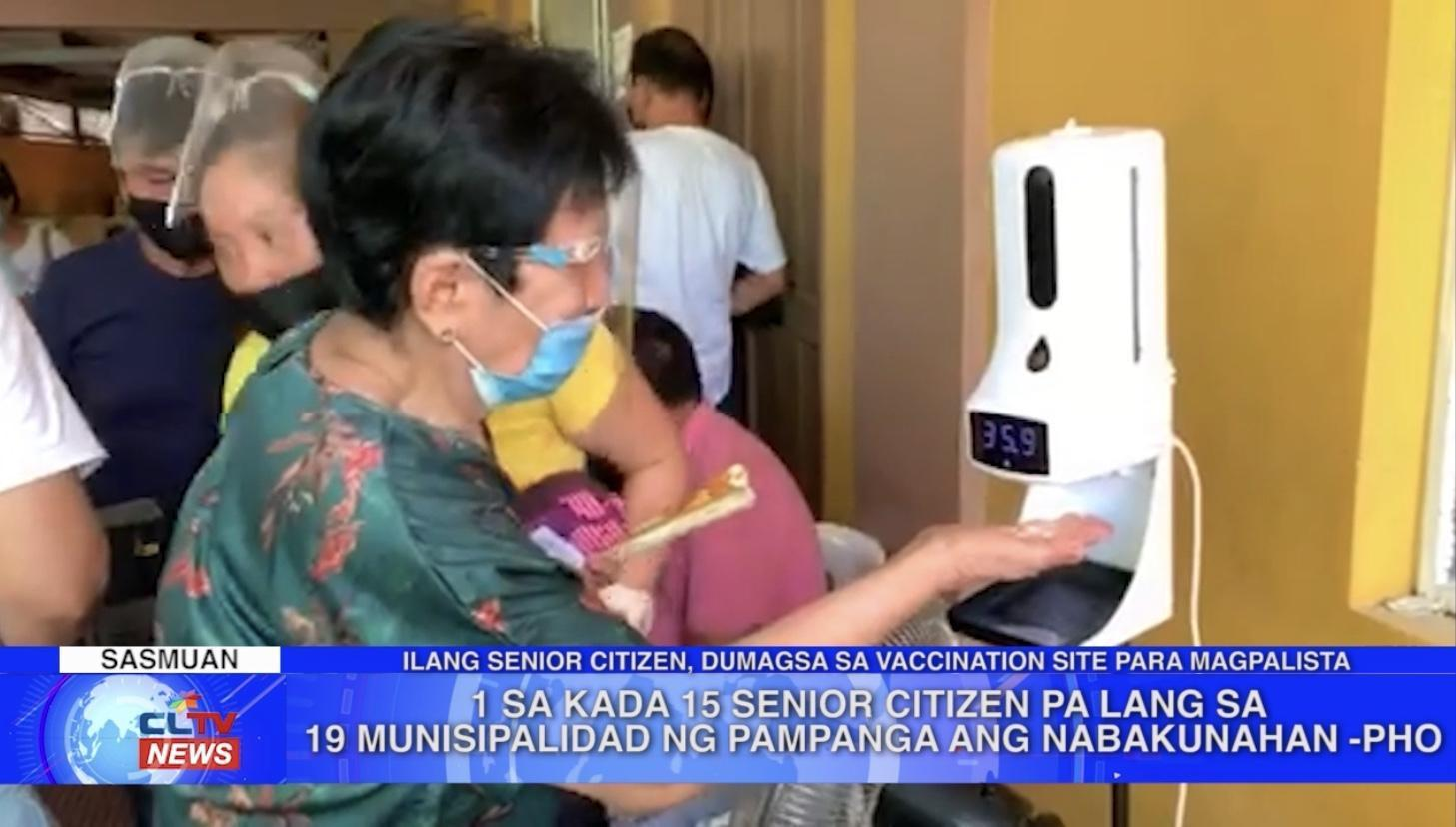 1 sa kada 15 senior citizen pa lang sa 19 munisipalidad ng Pampanga ang nabakunahan - PHO