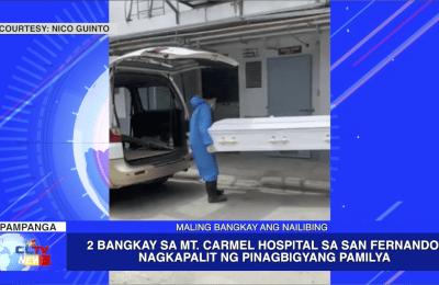 2 Bangkay sa Mt. Carmel Hospital sa San Fernando, nagkapalit ng pinagbigyang pamilya