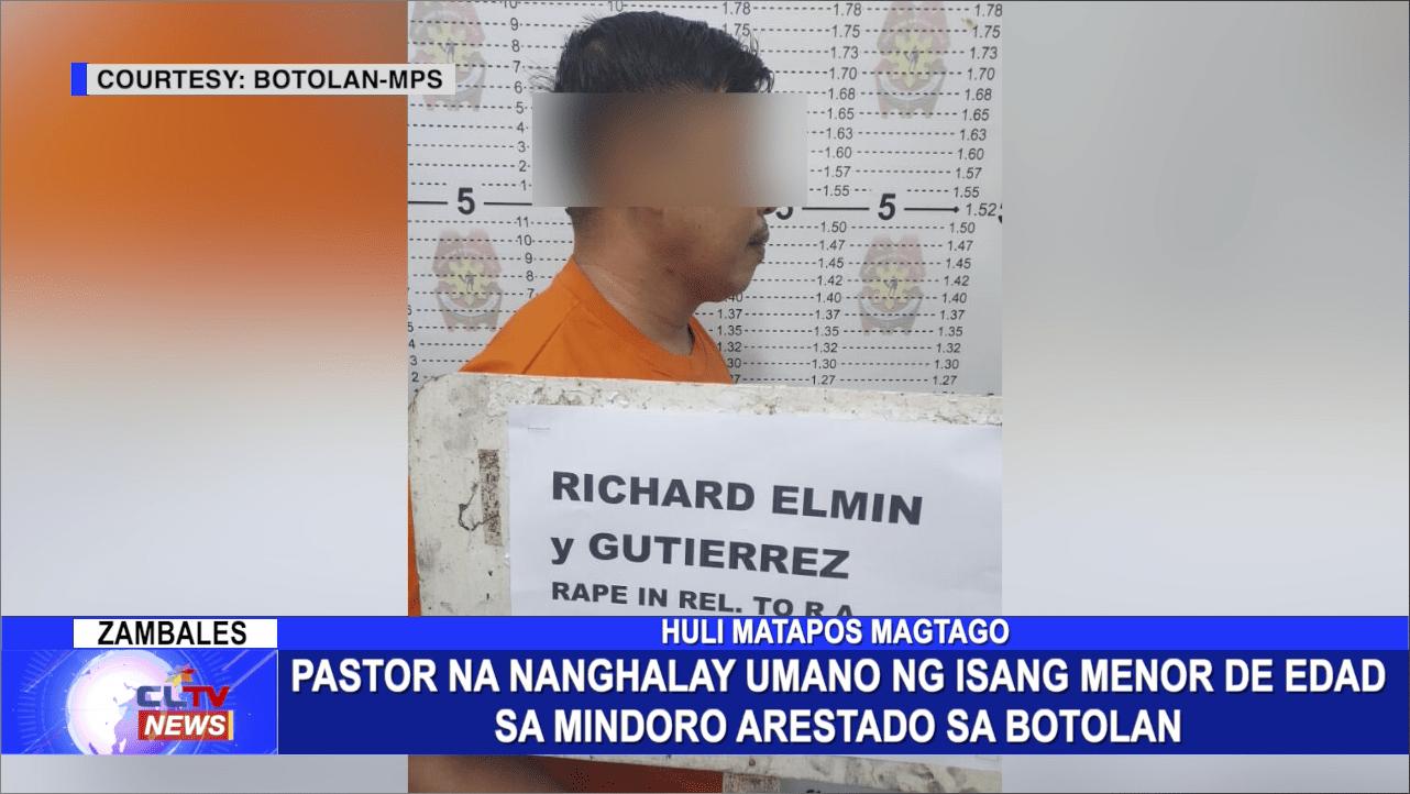 Pastor na nanghalay umano ng isang Menor de Edad sa Mindoro arestado sa Botolan