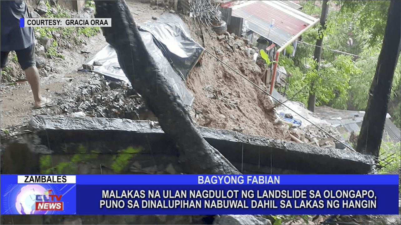 Malakas na ulan nagdulot ng landslide sa Olongapo, ilang puno sa Dinalupihan nabuwal dahil sa lakas ng hangin