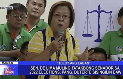 Sen. De Lima muling tatakbong senador sa 2022 Elections, Pang. Duterte sisingilin daw