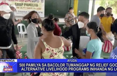 Nasa 500 pamilya sa Bacolor tumanggap ng relief goods ngayong tag-ulan, alternative livelihood program inihanda na rin ng lokal na pamahalaan