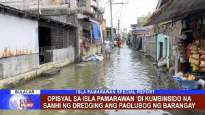 Opisyal sa Isla Pamarawan 'di kumbinsido na sanhi ng dredging ang paglubog ng barangay