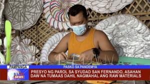 Presyo ng parol sa Syudad San Fernando, asahan daw na tumaas dahil nagmahal ang raw materials