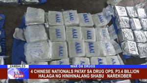 4 Chinese Nationals patay sa drug ops, P3.4 Billion halaga ng hinihinalang shabu narekober