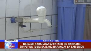 Nasa 500 kabahayan apektado ng mahinang supply ng tubig sa isang barangay sa San Simon