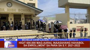 Higit 600,000 mag-aaral inaasahang hahabol sa enrollment sa para sa S.Y. 2021-2022