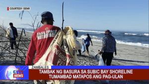 Tambak ng basura sa Subic Bay shoreline tumambad matapos ang pag-ulan