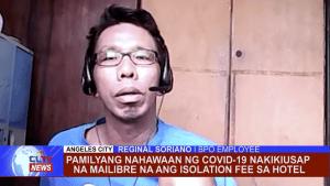 Pamilyang nahawaan ng Covid-19 nakikiusap na mailibre na ang isolation fee sa hotel