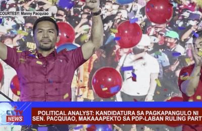 Political Analyst: Kandidatura sa pagkapangulo ni Sen. Pacquiao, makaaapekto sa PDP-Laban ruling party