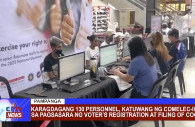 Karagdagang 130 personnel, katuwang ng COMELEC-III sa pagsasara ng Voter's Registration at Filing of COC