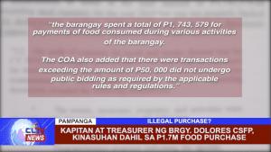 Kapitan at Treasurer ng Brgy. Dolores CSFP, kinasuhan dahil sa 1.7M food purchase