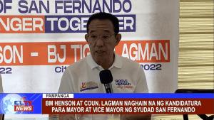 BM Henson at Coun. Lagman naghain na ng kandidatura para Mayor at Vice Mayor ng syudad San Fernando