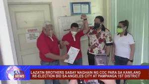 Lazatin brothers sabay naghain ng COC para sa kanilang re-election bid sa Angeles City at Pampanga 1st District