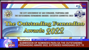 Submission of nominees para sa the Outstanding Fernandino Award 2022, extended hanggang Oct. 15