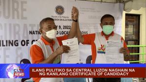 Ilang pulitiko sa Central Luzon naghain na ng kanilang certificate of candidacy