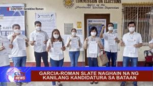 Garcia-Roman slate naghain na ng kanilang kandidatura sa Bataan