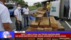 Higit 3,000 ilegal na troso nadiskubre ng DENR matapos ang isang aksidente sa kalsada