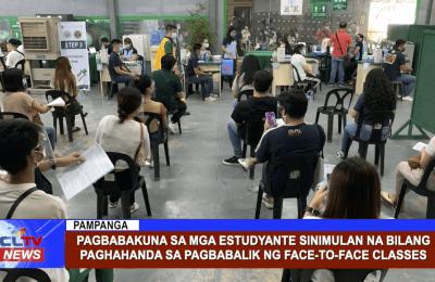 Pagbabakuna sa mga estudyante sinimulan na bilang paghahanda sa pagbabalik ng face-to-face classes